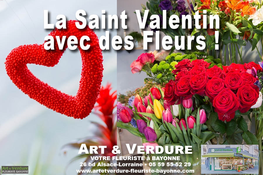 La Saint Valentin avec Art et Verdure des fleurs plantes et bouquets pour les amoureux