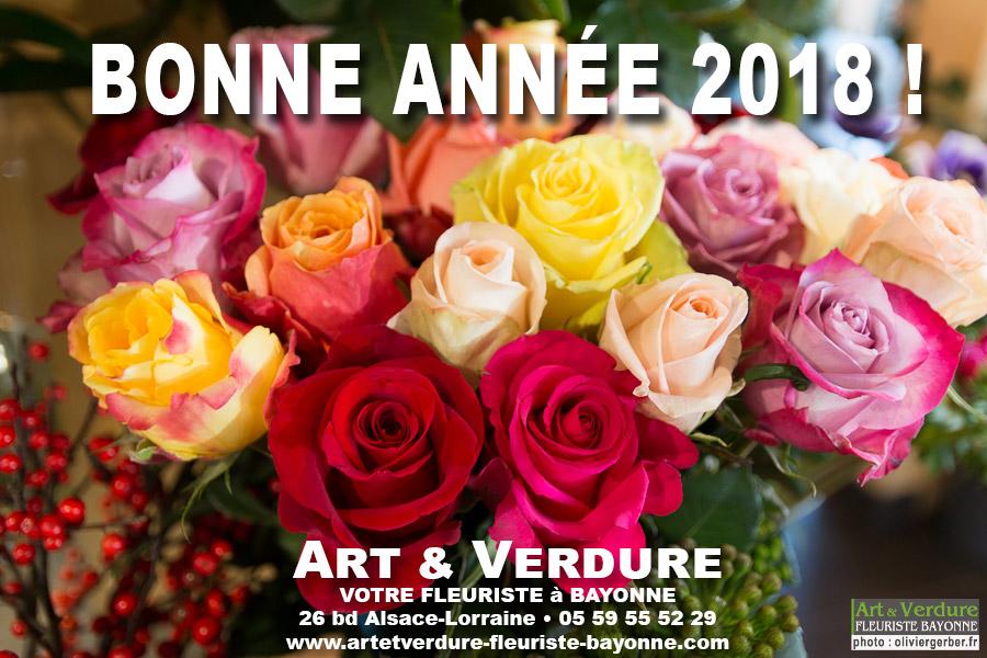 Bonne année 2018 avec Art et Verdure des fleurs plantes et bouquets pour tous vos évènements