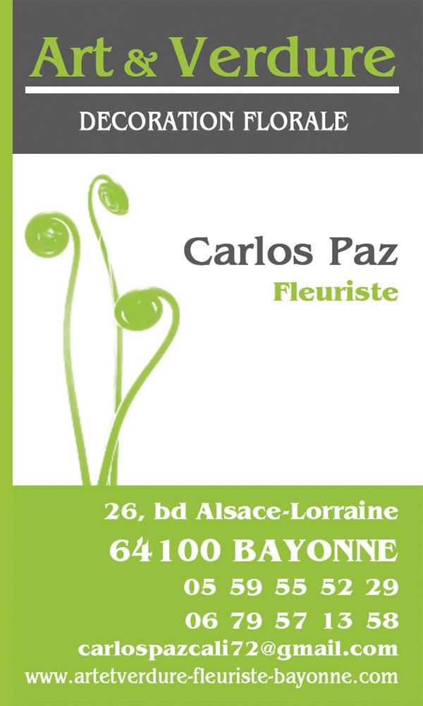 Art et Verdure Fleuriste Bayonne Carlos Paz Artisan Fleuriste (64) Carte Viste 1